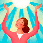 Woman With Hands Raised Toward Sun