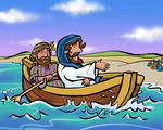 Peter and Jesus in a Fishing Boat