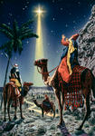 Wise Men Following a Shining Star to Jesus