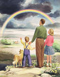 Father and Two Children Looking at Rainbow